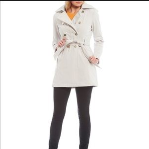 Guess Trench Double-Breasted Hooded Coat M in Gray